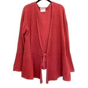 Flax Pima Cotton Red Wrap Cardigan Sweater M/L